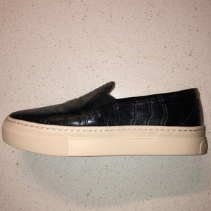 Black Leather Soludos Slip-Ons